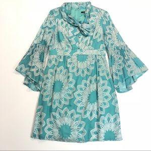 Nanette Lepore • Blue Silk Bell Sleeve Dress 126